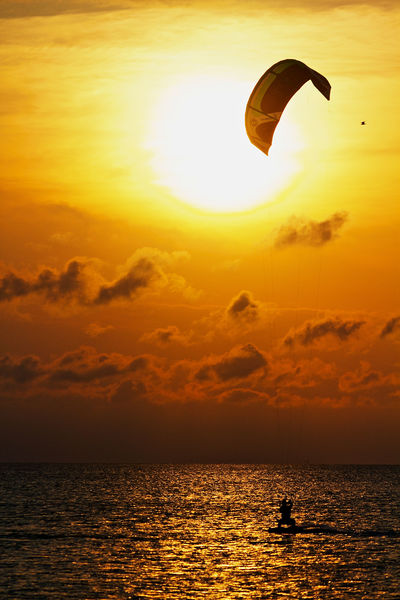 Kite Boarding in South Padre Island Texas at Sunset