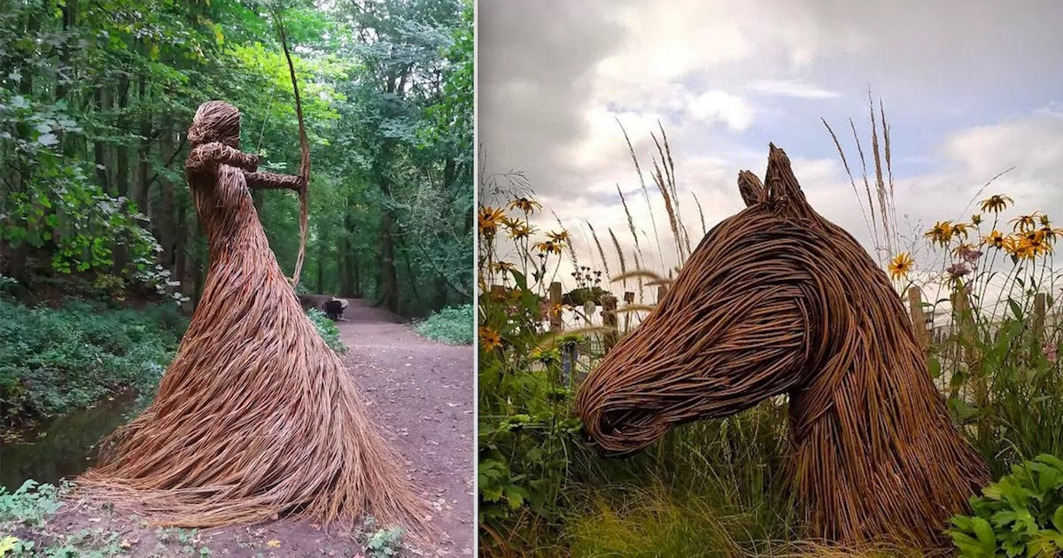 Artist Creates Impressive Sculptures Using Woven Willow Rods And Installs Them In Forests