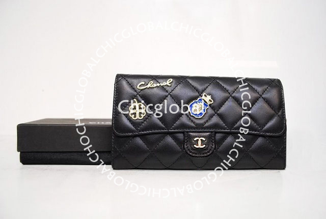 10e14f4d24e5a8 HOSHI AME HARIKO: Chanel Classic Quilted Flap Long Wallet Black 37239