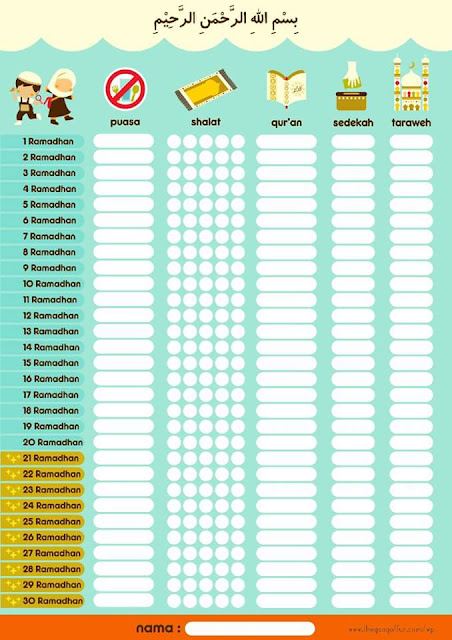 Jadual 'Check List' Bulan Ramadhan