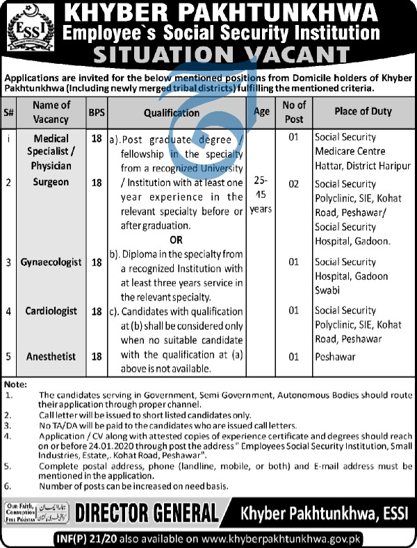 Jobs in Employees Social Security Institution 2020 Latest Vacancies