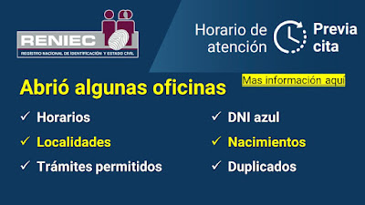 RENIEC abrio oficinas en Lima y Provincias verifica como y donde realizar los tramites