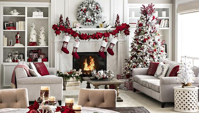 decoracion navidad muebles, decoracion sala minimalista navidad