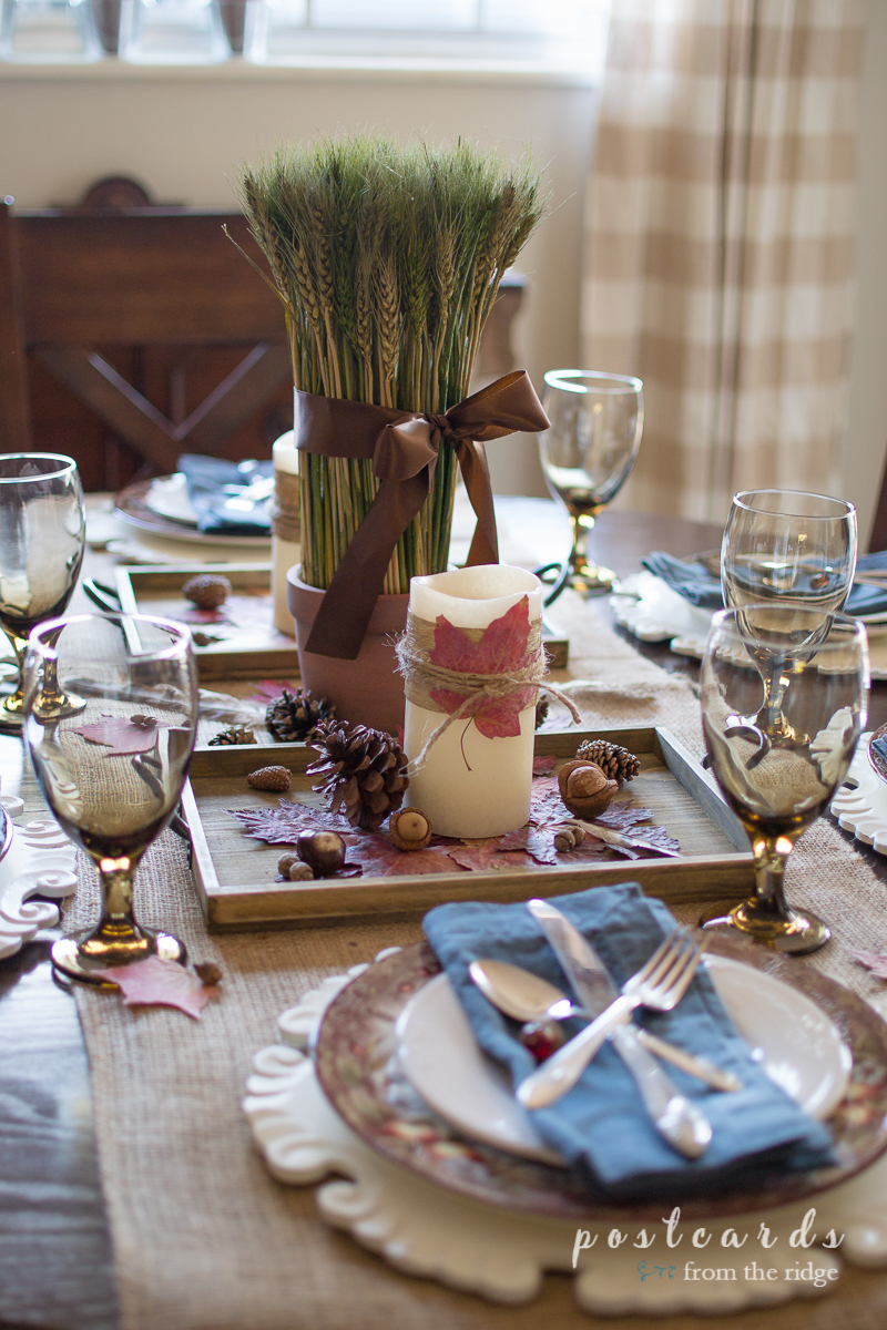 A Rustic Natural Thanksgiving Centerpiece Postcards