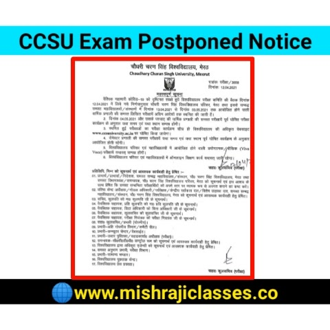 CCSU Exam Postponed