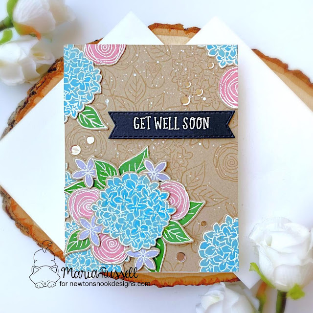 Get Well Soon Floral Card by Maria Russell | Lovely Blooms Stamp Set, Heartfelt Essentials Stamp Set and Banner Trio Die Set by Newton's Nook Designs