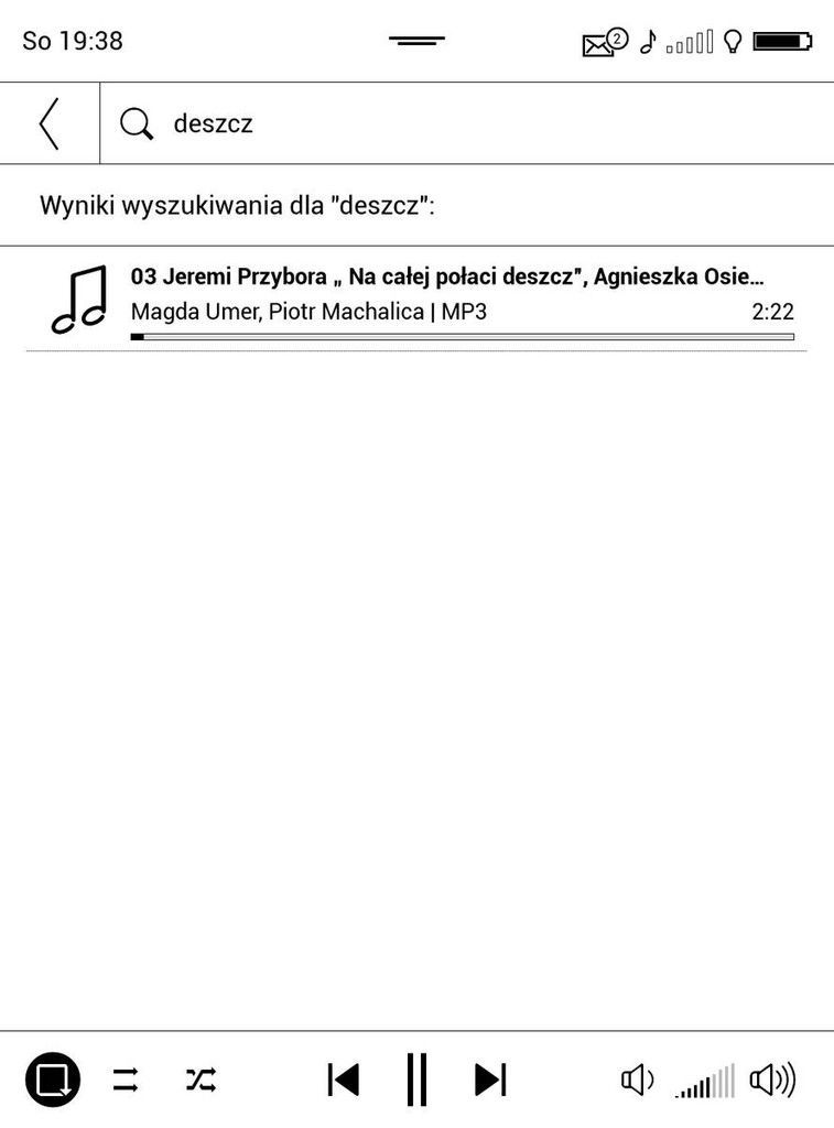 PocketBook Touch HD 3 – ekran listy odtwarzania w odtwarzaczu muzyki