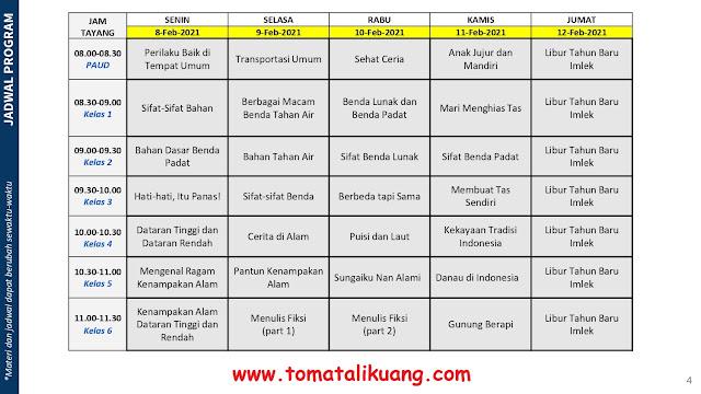 jadwal program belajar dari rumah bdr tvri tanggal 8 9 10 11 12 februari 2021 tomatalikuang.com