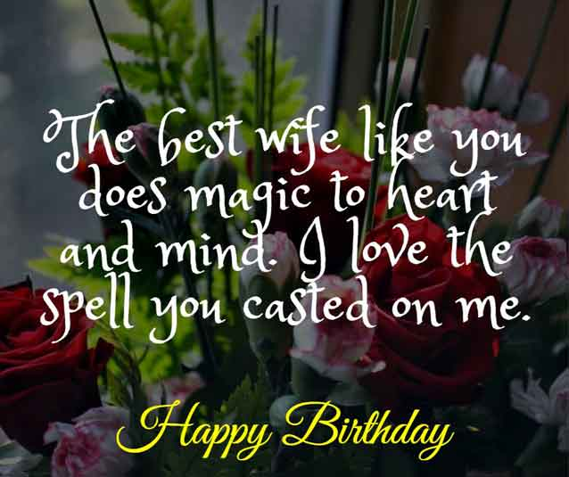The best wife like you does magic to heart and mind. I love the spell you casted on me. HBD!