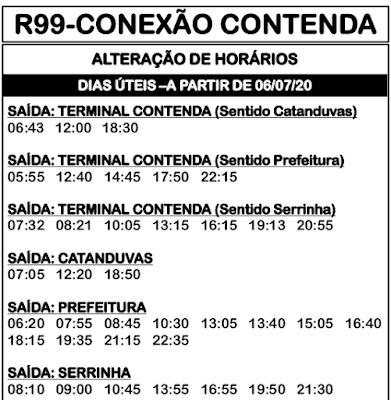 Horário de ônibus R99 CONEXÃO CONTENDA 2020