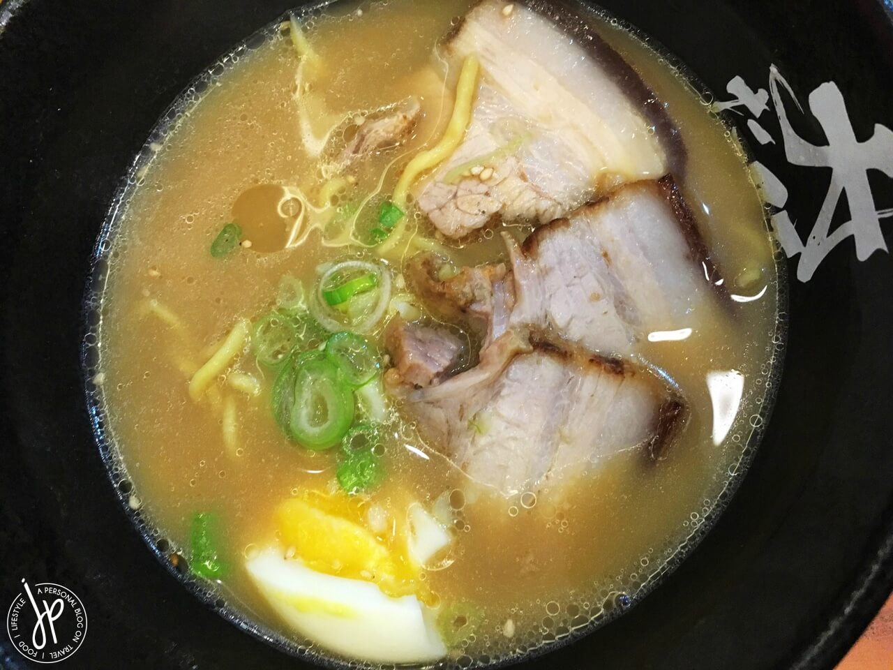 salted pork ramen three pieces of pork slices and half egg