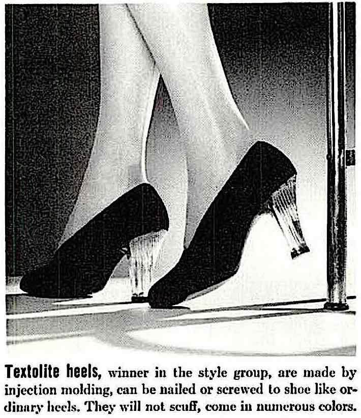 1940 Textolite heels, a photograph of transparent women's heels