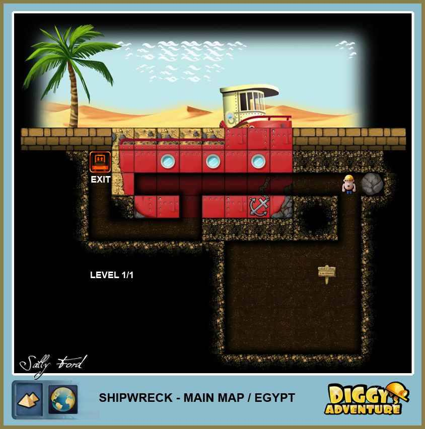 Diggy's Adventure Walkthrough: Egypt Main / Shipwreck