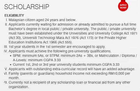 Syarat kelayakan memohon Loh & Loh Corporation Scholarship