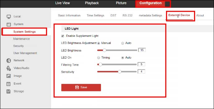 How to adjust the LED floodlight settings on Hikvision camera