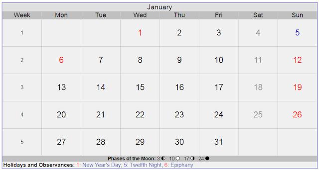 Calendar for January 2020 Sweden