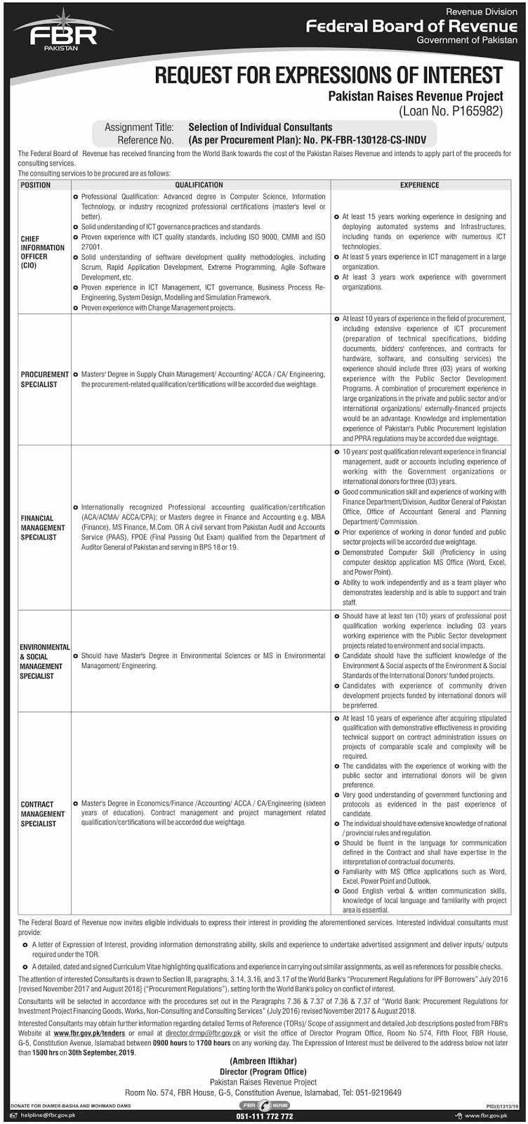 Advertisement for FBR Jobs September 2019