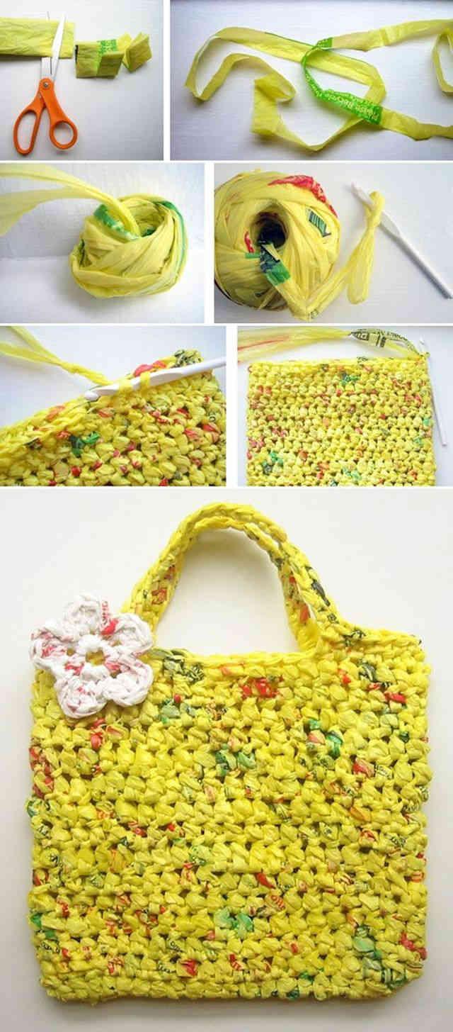 Un bolso a partir de bolsas de plástico recicladas