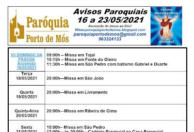 Avisos Paroquiais - 16 a 23 de Maio de 2021