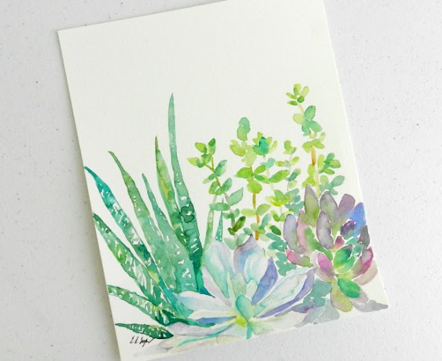 Watercolor Succulent Garden Painting by Elise Engh: grow creative blog
