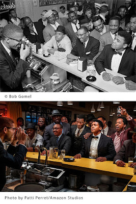 """Comparing photographs of scene from movie """"One Night in Miami"""" with original Bob Gomel photo of Cassius Clay (Muhammad Ali) with Malcolm X"""