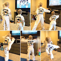 Karate kids practicing Taekwondo at home with remote learning