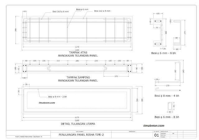 Gambar teknik panel struktur P1