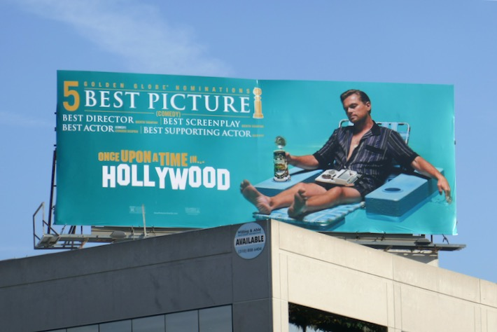 Once Upon a Time in Hollywood 5 Golden Globes billboard