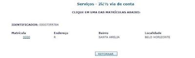 Print da Página serviços 2 via de conta Copasa