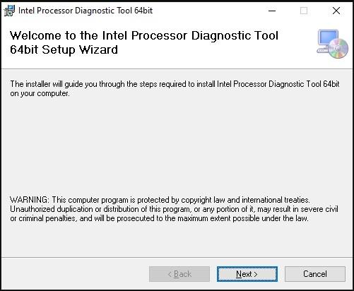 Giao diện cài đặt Intel Processor Diagnostic 2