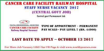Cancer Care Facility Railway Hospital Varanasi Staff Nurse Vacancy  2017 (Central govt job)