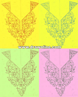 How to draw neck design, kurti neck design patterns sketch on tracing-paper