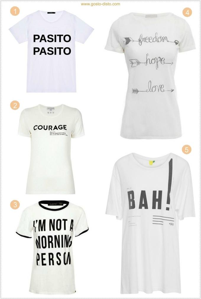 Camiseta com mensagem ou frase é a tendência da vez