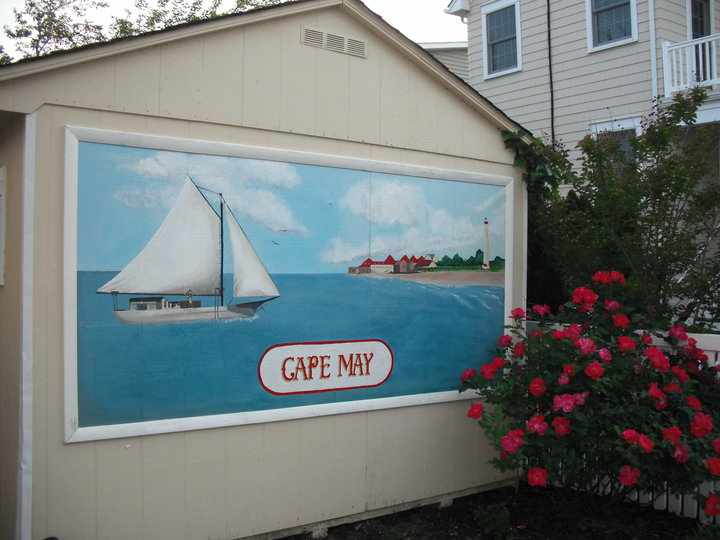 This mural is painted on a garden shed