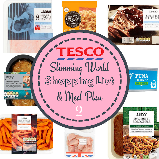 tesco Slimming World meal plan 7 day with shopping list