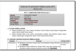 File RPP 1 Lembar Matematika Kelas 5 SD/MI
