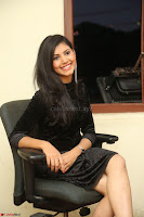 Mounika in a velvet short black dress for Tick Tack Movie Press Meet March 2017 001.JPG