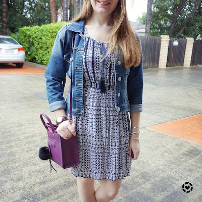 awayfromblue instagram rainy day style printed dress denim jacket purple RM mini MAB tote