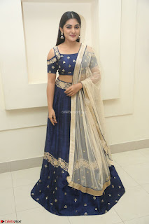 Niveda Thomas in Lovely Blue Cold Shoulder Ghagra Choli Transparent Chunni ~  Exclusive Celebrities Galleries 086