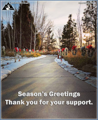 On behalf of the NWCG Leadership Subcommittee and the Wildland Fire Leadership Development Program, we want to take a moment to wish our followers the warmest of holidays. May you take this time to reflect upon all that 2016 brought and 2017 has to offer. For those supporting the fire ground, thank you for your service and sacrifice.   Happy holidays to one and all!  [Photo credit: Nicole Oke, Wildland Firefighters Monument, NIFC] (Wreaths and snow adorn the Wildland Fire Monument in Boise, ID)