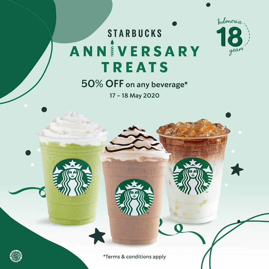 Promo Starbuks Anniversary Treat Diskon 50% Semua Minuman Berlaku 17 - 18 Mei 2020