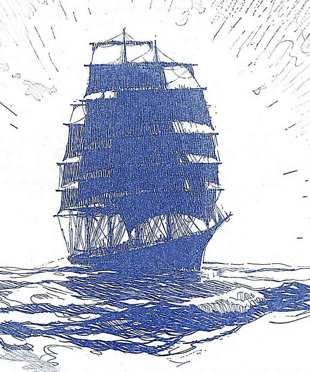 a Gordon Grant illustration of a blue sailing ship in silhouette, 1928