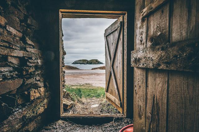 An open barn door