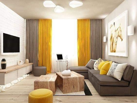 صور ديكورات رمادي مع أصفر جميلة جدا جدا