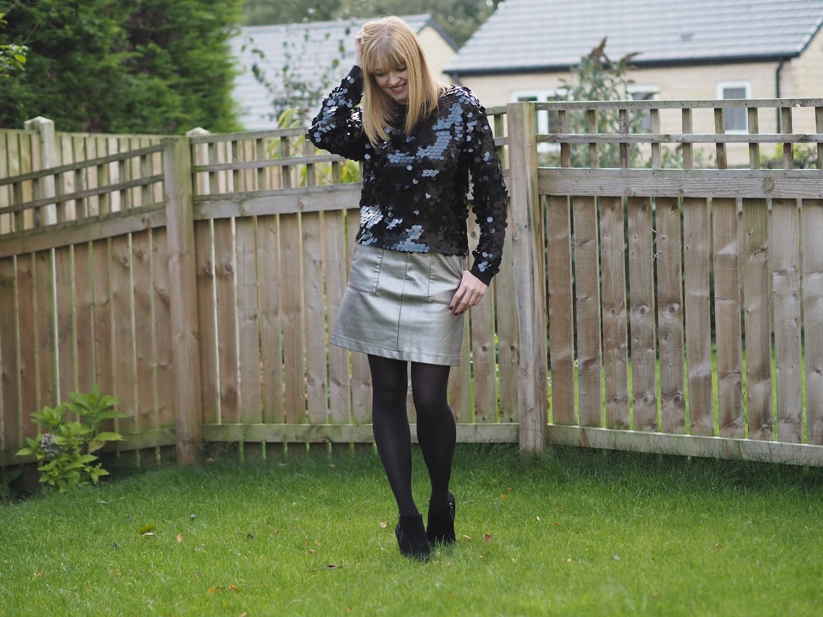 Black Pailette Sequin Sweater with Metallic Leather-Look Mini Skirt