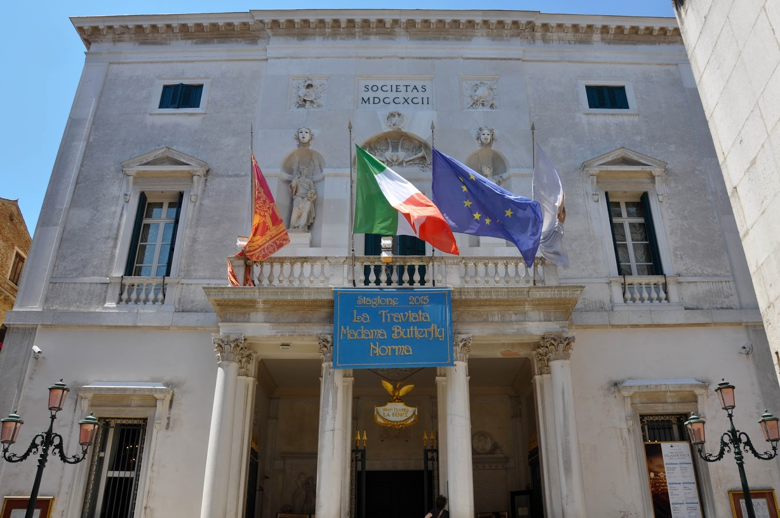 The theatre's facade, La Fenice, Venice, Italy