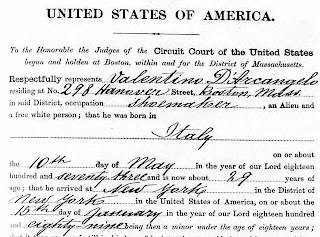 The 1st good clue in my challenge: naturalization papers.