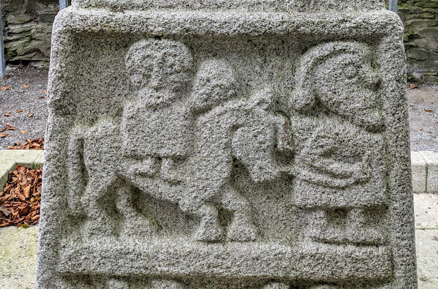 Biblical scenes on a section of Moone High Cross in South Kildare Ireland