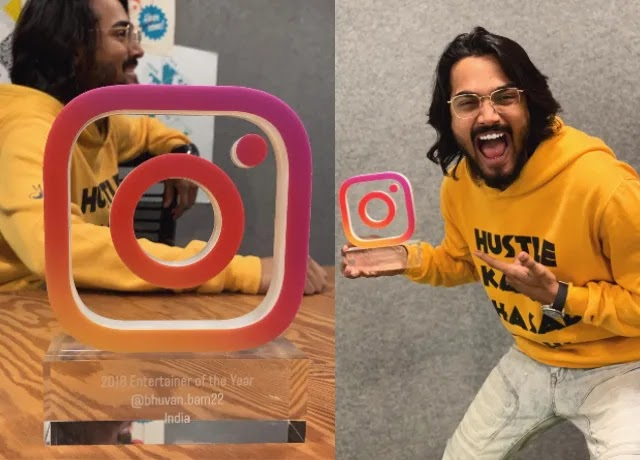Bhuvan Bam win oficial instagram award in 2019