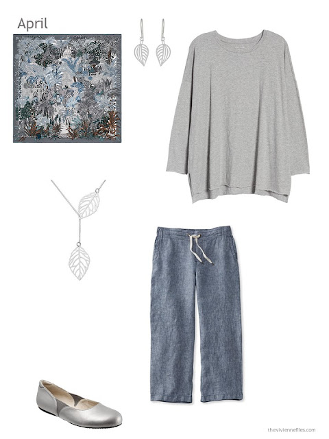 a Spring outfit in grey and chambray blue